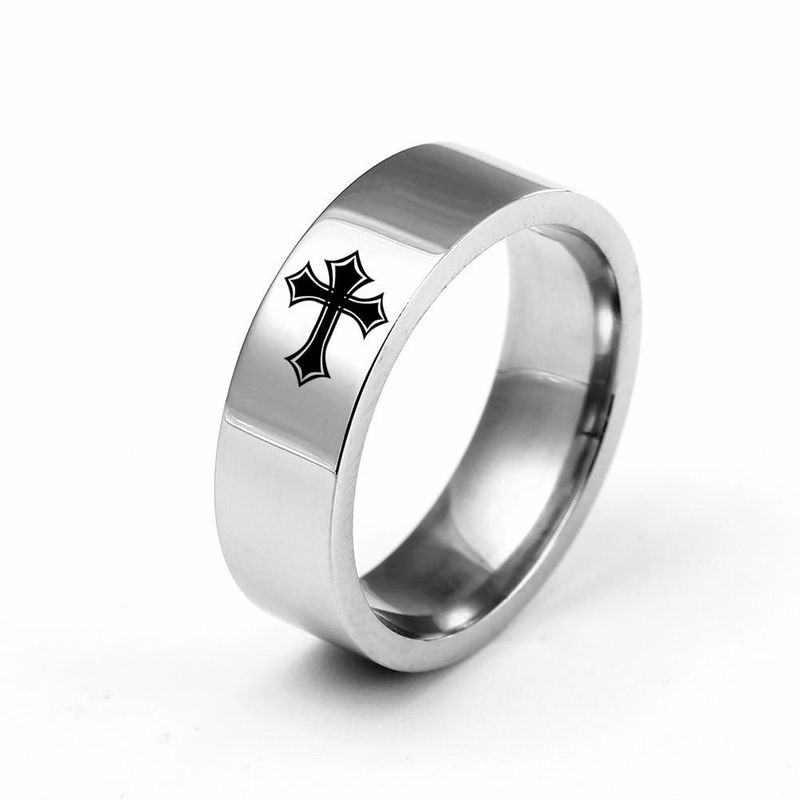 6mm titanium steel cross ring stainless steel couple ring wholesale NHIM202923