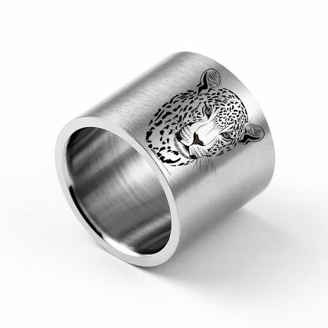 18mm Ultra Wide Leopard Head Carved Ring Titanium Steel Ring Wholesale NHIM202925's discount tags