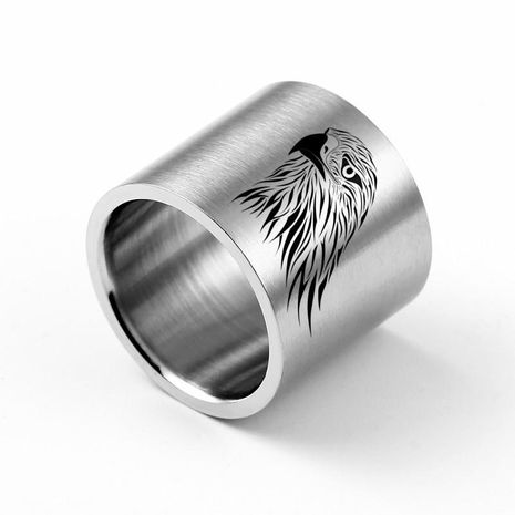 18mm Ultra Wide Eagle Carved Ring Titanium Steel Ring Wholesale NHIM202928's discount tags