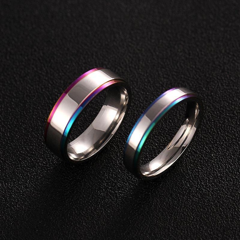 Simple couple colorful edge ring titanium steel ring men and women ring wedding ring NHIM202937