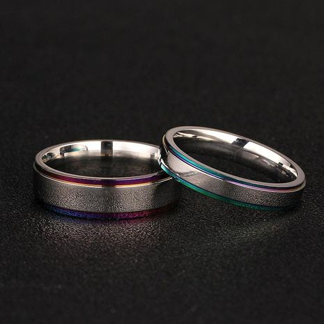 Simple couple colorful edge ring 316 titanium steel ring men and women ring wedding ring NHIM202938's discount tags