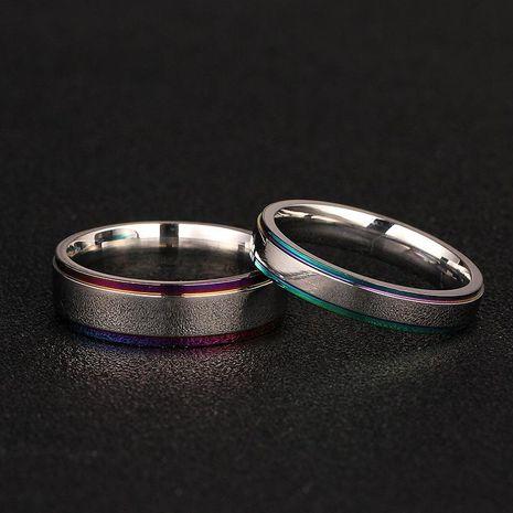 Pareja simple anillo de borde colorido anillo de acero de titanio 316 hombres y mujeres anillo anillo de bodas NHIM202938's discount tags