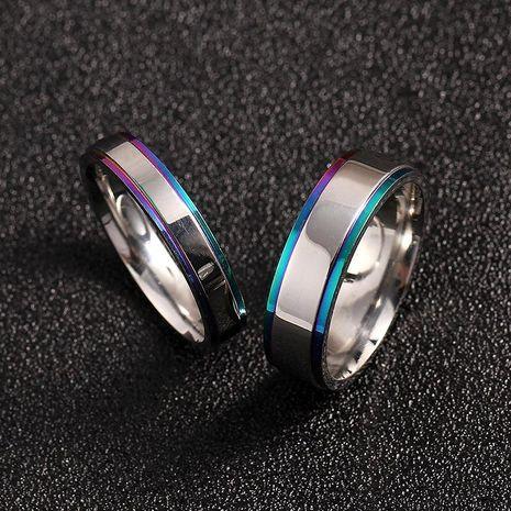 Pareja simple anillo de borde colorido anillo de acero de titanio anillo para hombres y mujeres anillo de bodas NHIM202939's discount tags