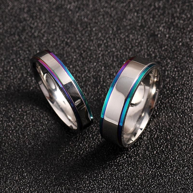 Simple couple colorful edge ring titanium steel ring men and women ring wedding ring NHIM202939