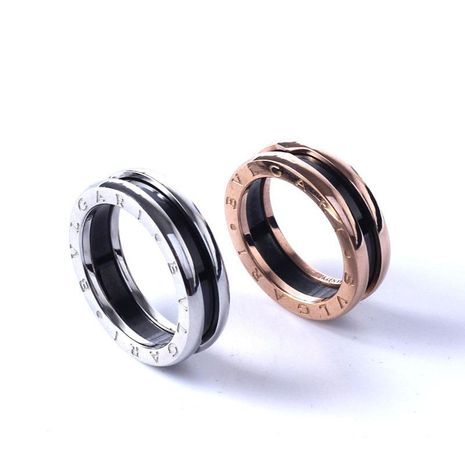 Black ceramic ring couple titanium steel rose gold plated ring wholesale NHIM202943's discount tags