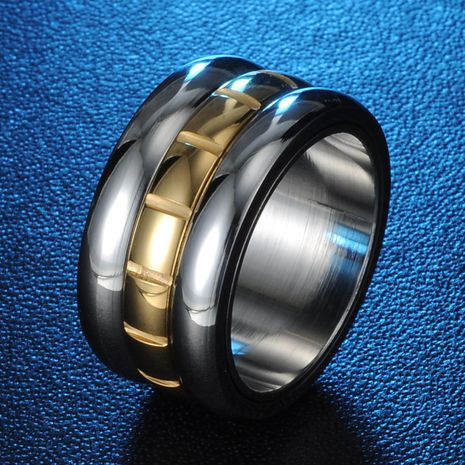 Fashion 12mm 18K Gold Plated Ring Korean Super Wide Titanium Steel Ring Wholesale NHIM202946's discount tags
