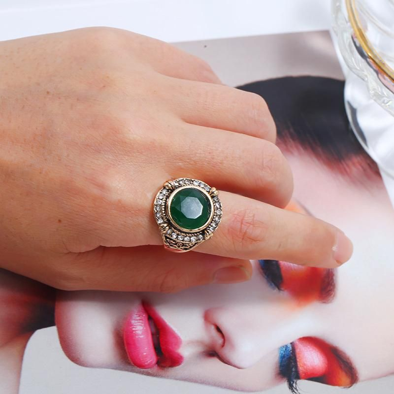 Fashion rings for women new rhinestone resin boho vintage ring NHKQ202961
