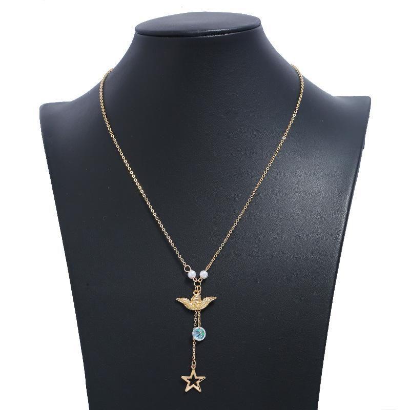 Fashion Metal Bird Star Sweater Chain Chokers Long Money Chain NHKQ202966