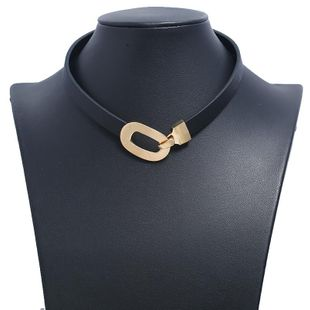Simple choker fashion clavicle necklace leather rope black metal buckle collar wholesales yiwu suppliers china NHKQ202967's discount tags