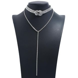 New Knotted Shiny Double Diamond Necklace Fashion Creative Trend Long Multilayer Necklace NHKQ202973's discount tags