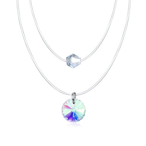 Jewelry Double Invisible Necklace Mermaid Tear Necklace Water Drop Transparent Zircon Necklace NHGO202976's discount tags