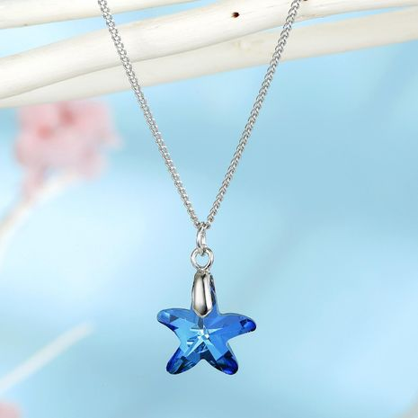 Jewelry ladies necklace imitation zircon star necklace starfish crystal pendant clavicle chain NHGO202978's discount tags