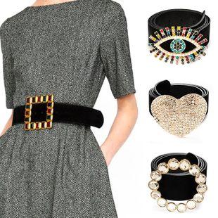 Cinturón de aleación accesorios de ropa de moda faja de cintura ancha de diamante simple NHMD202989's discount tags