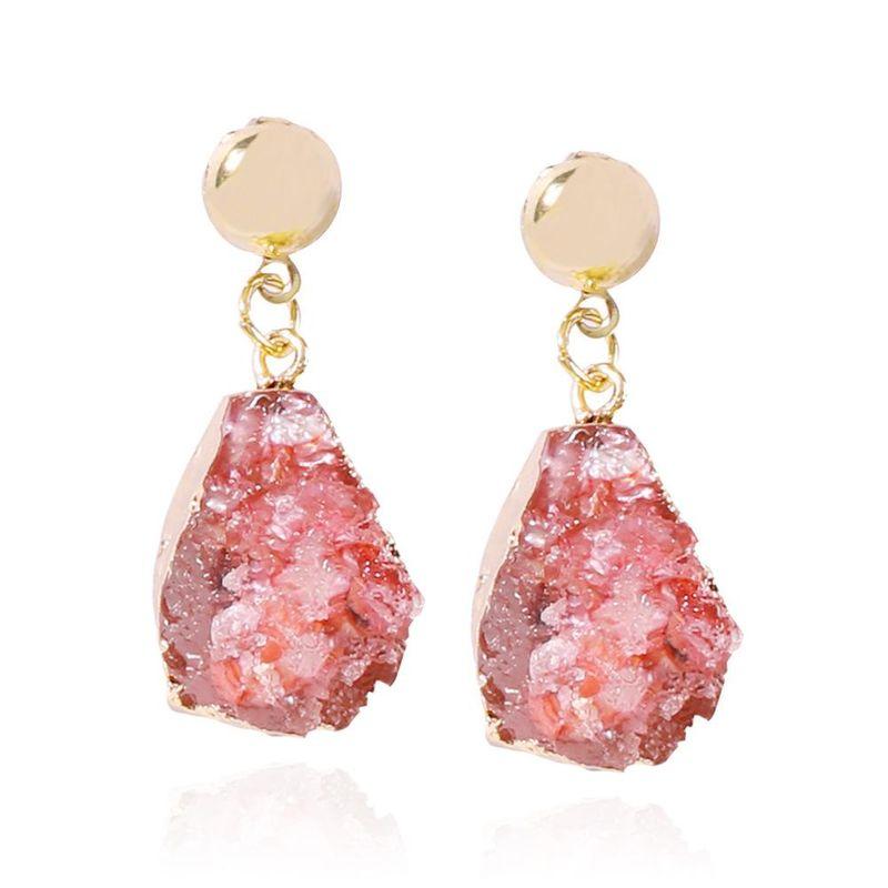 New Fashion Imitation Natural Stone Jewelry Earrings Simple Geometric Drop Shape Resin Pendant Earrings NHMD202991