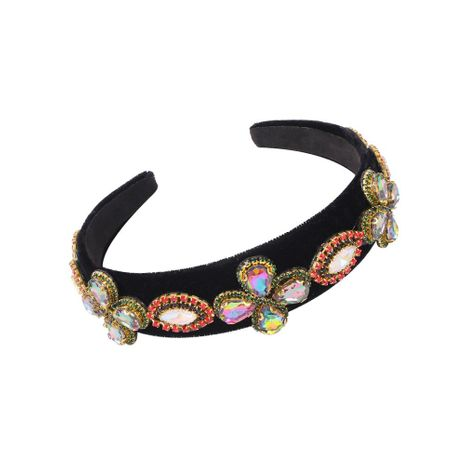 New Baroque black-rimmed hair band fashion gem color diamond hair accessories for women NHMD202993's discount tags