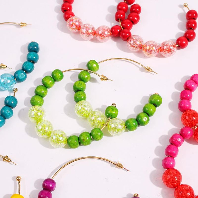 New Bohemian C-shaped Earrings Jewelry Fashion Vacation Color Resin Earrings NHMD202994