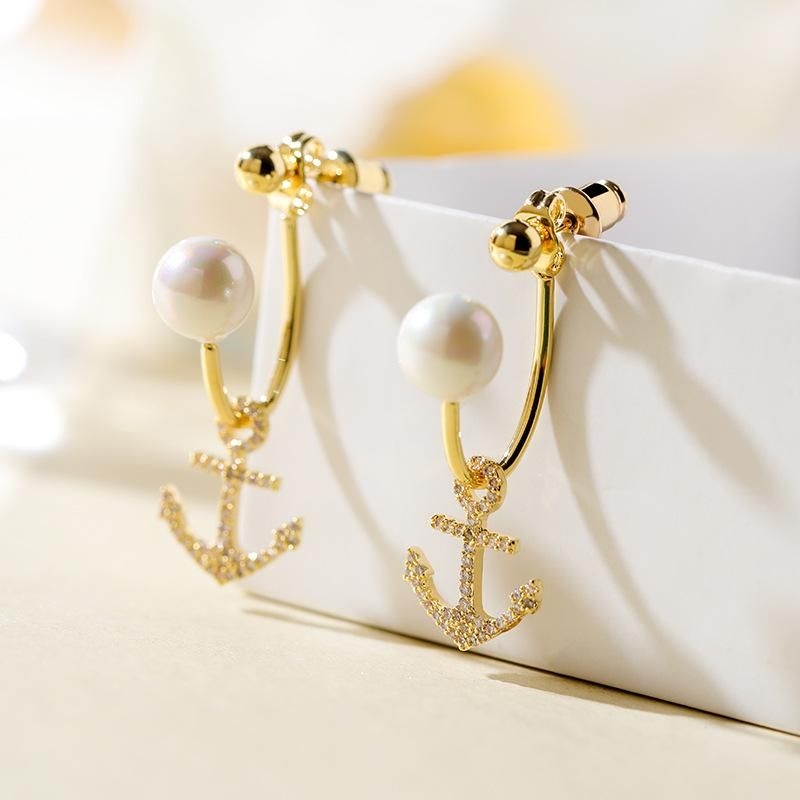 925 Silver Pin Personalized Anchor New Exaggerated Commuter Earrings NHPP203002