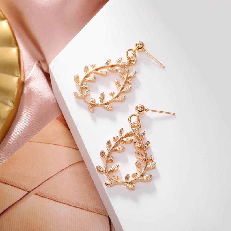 Korean leaf earrings fashion wild earrings geometric empty leaf earrings NHPF203006