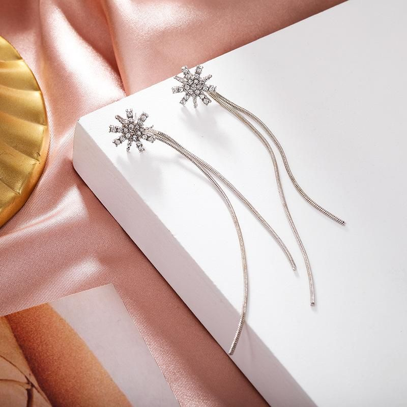 Korean new sweet snowflake ear line long silver flower full diamond tassel earrings simple earrings  NHPF203010