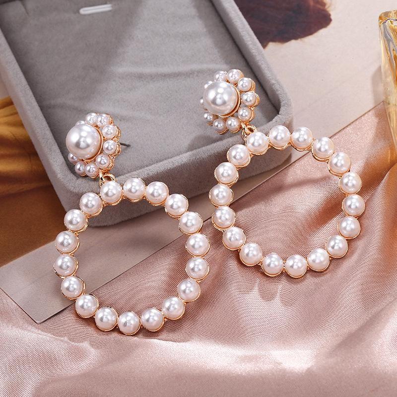 Large circle pearl diamond earrings alloy circle geometric boast jewelry women NHPF203014