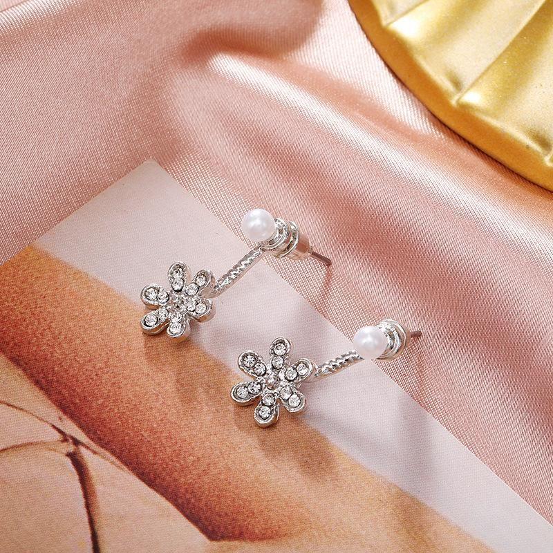 New jewelry silver pearl diamond pendant flower after ear jewelry women NHPF203020