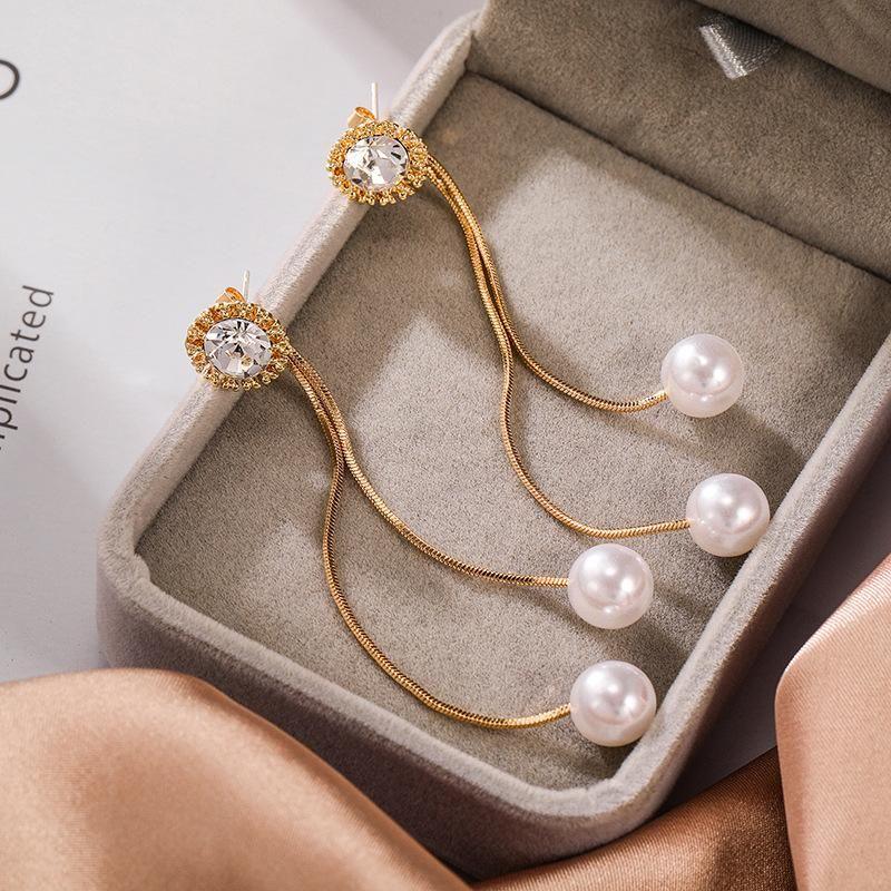Korean pearl earrings long simple earrings flash diamond zircon earrings ear jewelry women NHPF203023