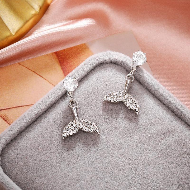 Korean fishtail micro inlaid zircon earrings simple long earrings women NHPF203024
