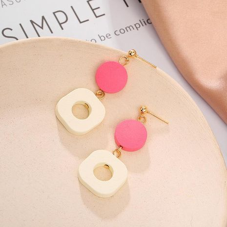 Korean new simple and stylish wood round pendant earrings NHPF203028's discount tags