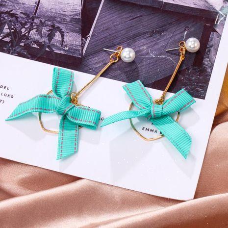 Korean new simple heart bow pearl ear pin long green earrings NHPF203031's discount tags