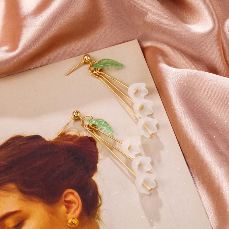 Korean new accessories matte campanula tree leaf lily of the valley earrings NHPF203034