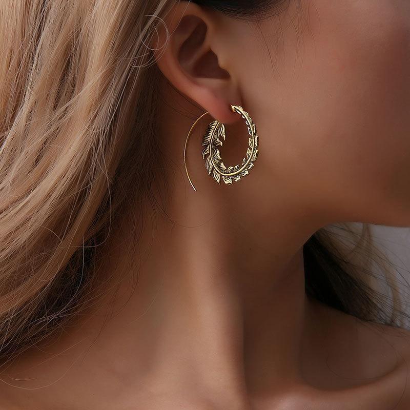 Retro jewelry round spiral earrings swirl new gear earrings NHDP203040