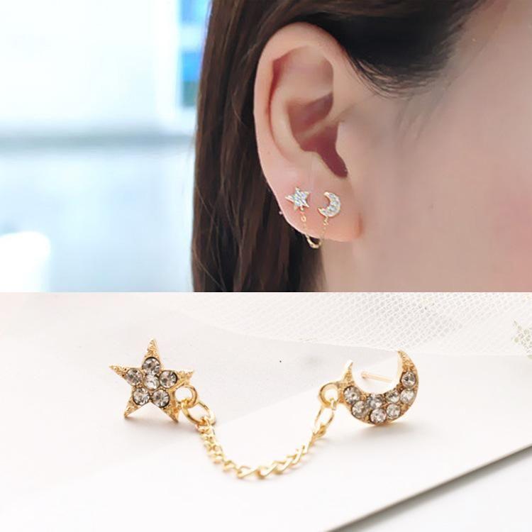 Star Moon Full Diamond Chain Earrings Single Ear Double Hole Stud Earrings NHDP203044
