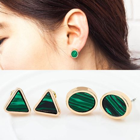Marble emerald geometric circle triangle turquoise earrings NHDP203049's discount tags