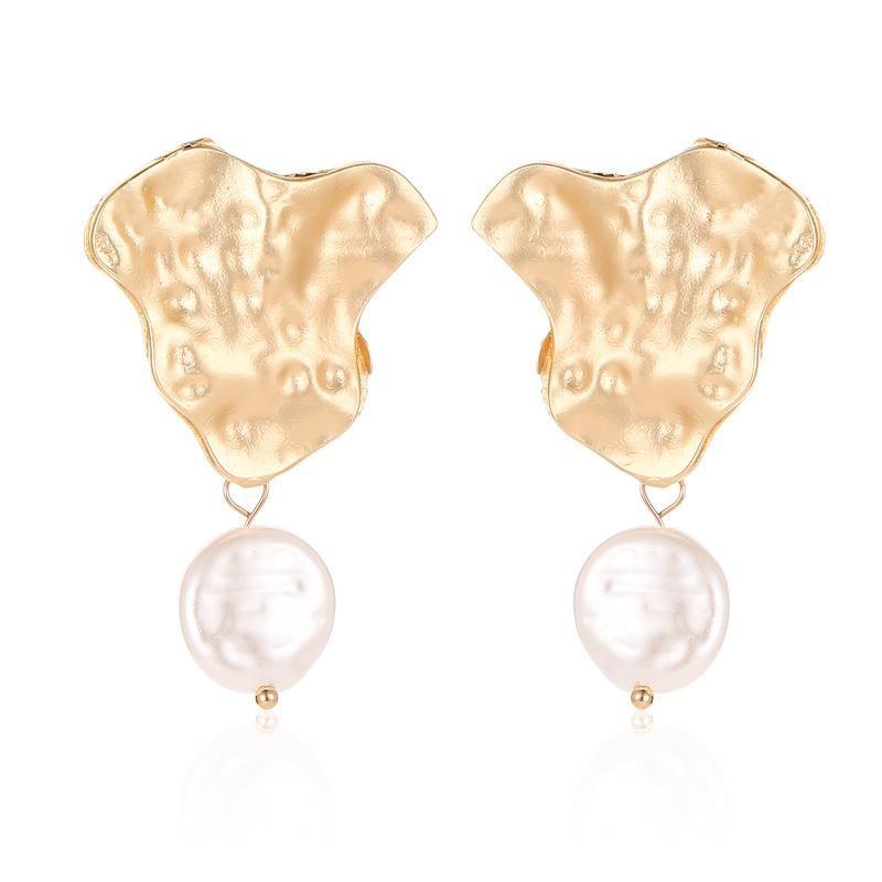 New Korean Earrings Personality Geometric Irregular Fold Metal Earrings Pearl Earrings NHDP203053