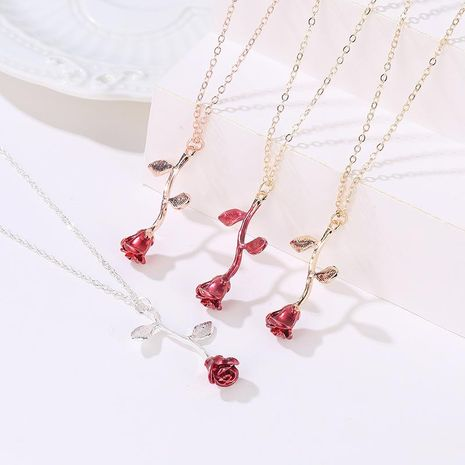 Fashion Valentine's Day Rose Necklace Delicate Three-dimensional Flower Pendant Clavicle Chain NHDP203060's discount tags