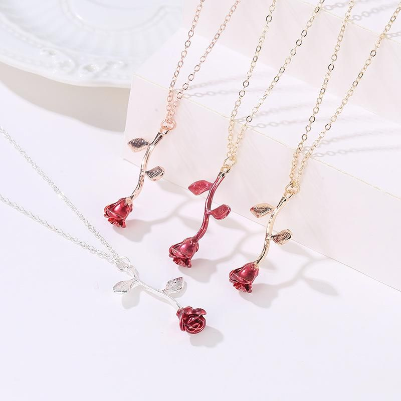 Fashion Valentine's Day Rose Necklace Delicate Three-dimensional Flower Pendant Clavicle Chain NHDP203060