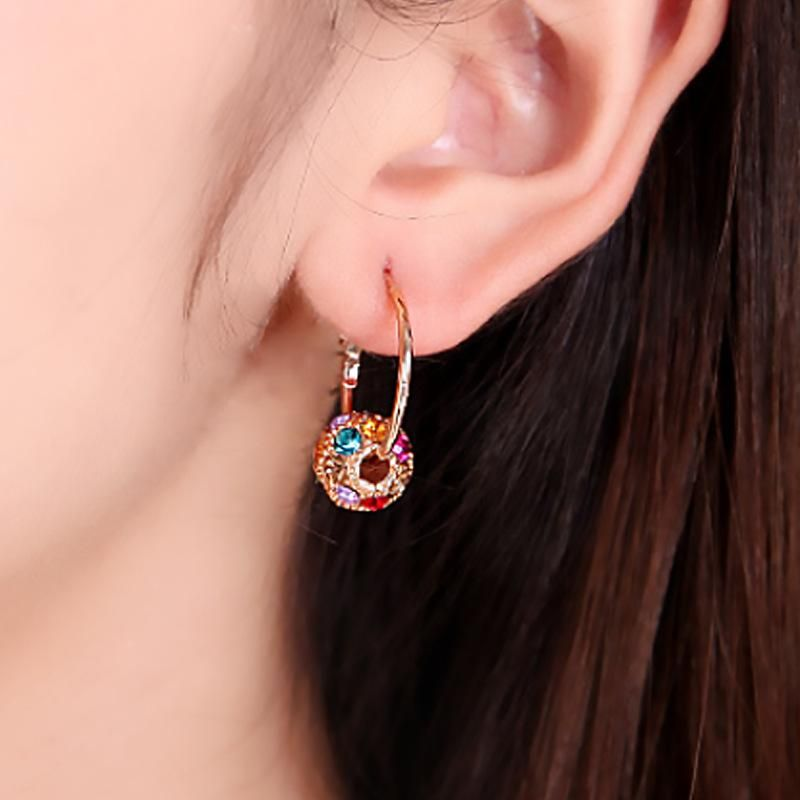 Korean crystal ball ball earrings colored diamonds lucky ball transfer beads earrings ear jewelry NHDP203065