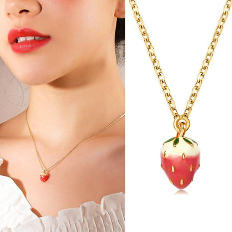 Super cute strawberry necklace delicate long fringed clavicle chain Korean item jewelry wholesale NHDP203071's discount tags