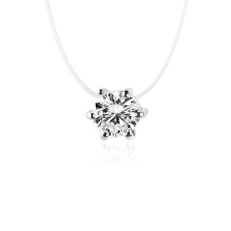 Necklace Wholesale Multi-Prong Diamond Zircon Pendant Necklace Short Fishline Clavicle Chain NHDP203072's discount tags