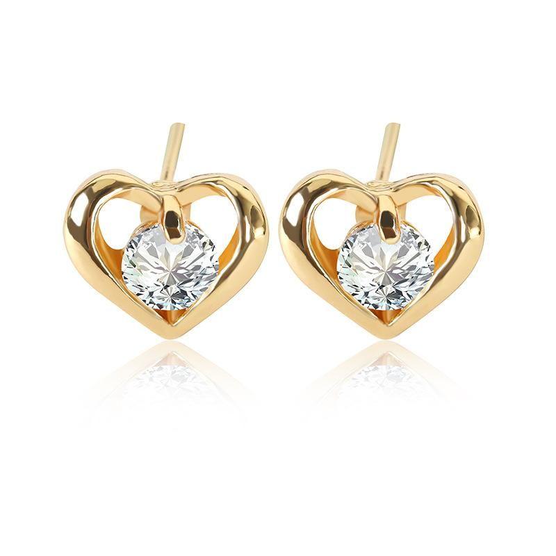 New simple stud earrings fashion metal studded zircon earrings NHDP203073