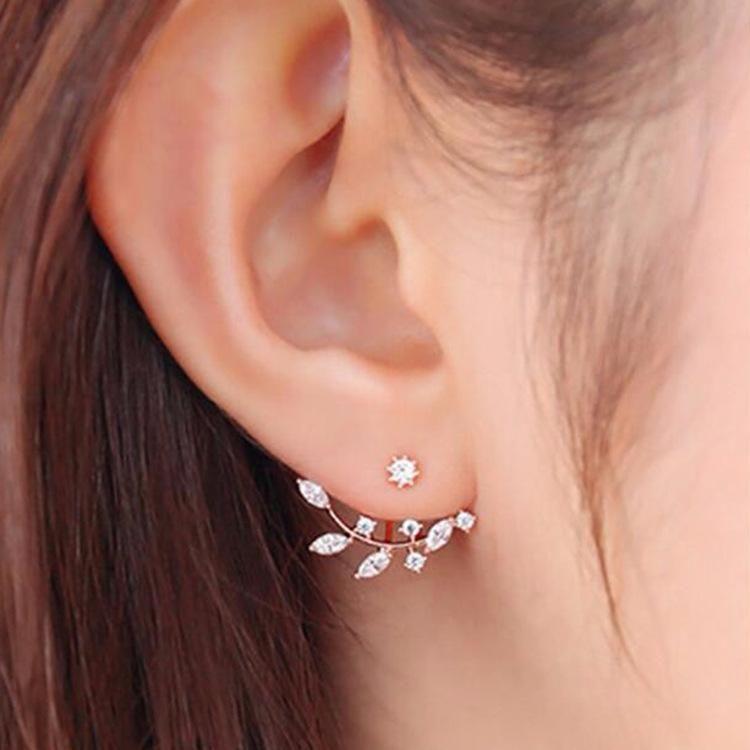 Fashion girls jewelry wholesale diamond crystal earrings branches back hanging zircon earrings NHDP203078