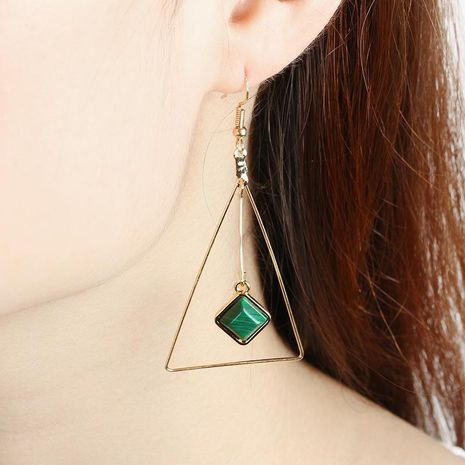 Handmade fashion simple Korean geometric triangle wild earrings turquoise pierced ear clips NHDP203079's discount tags