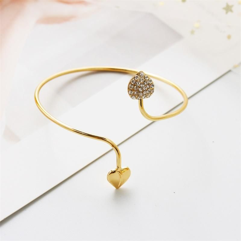 Korean Fashion Bracelet Women's Diamond Double Peach Heart Love Classic OL Open Bangle NHDP203080