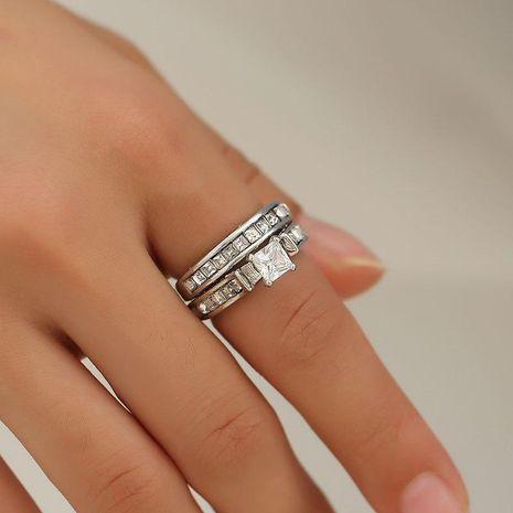 Nouveau couple deux pièces grand anneau de zircon protection de l'environnement cuivre diamant bague de mariage nuptiale NHDP203086's discount tags