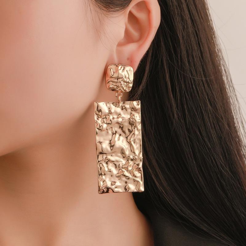 New Fashion Metal Earrings Long Wrinkled Earrings Simple Geometric Earrings NHDP203090