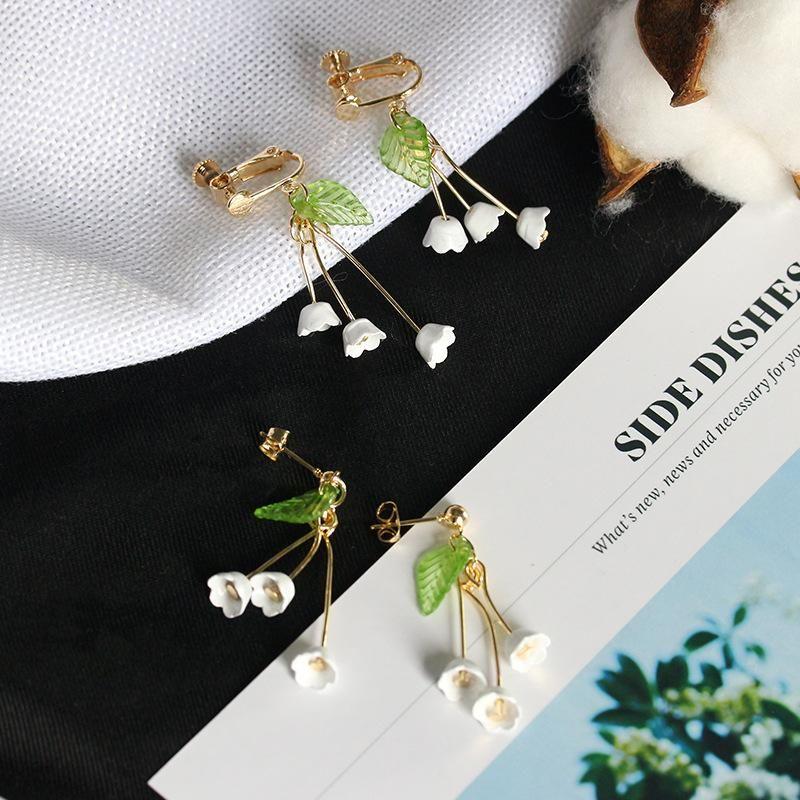 Lily of the valley flower earrings tassel flowers long ear pierced ear clips wholesale NHDP203095