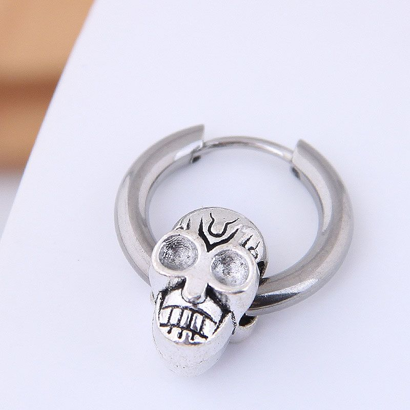 Earrings men's single simple earrings simple hip hop titanium steel skull men's earrings NHSC203477