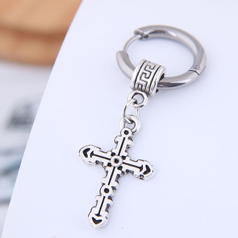 Earrings men's single simple earrings simple titanium steel cross men's earrings NHSC203475