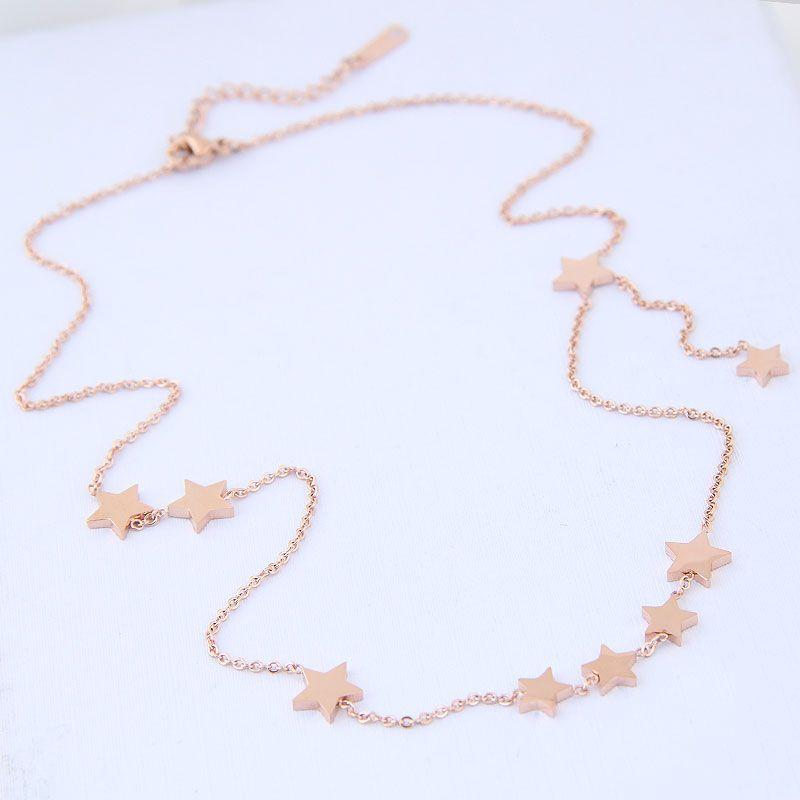 Korean jewelry titanium steel necklace simple titanium steel flashing star female necklace NHSC203468