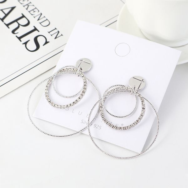 Fashion rhinestone plated real gold large circle hollow S925 silver pin earrings NHSE203147